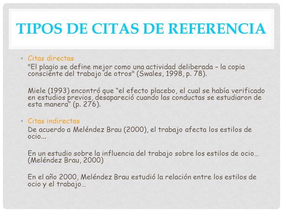 TIPOS DE CITAS DE REFERENCIA