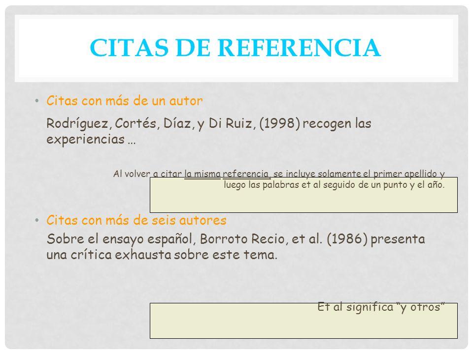 CITAS DE REFERENCIA Citas con más de un autor. Rodríguez, Cortés, Díaz, y Di Ruiz, (1998) recogen las experiencias …