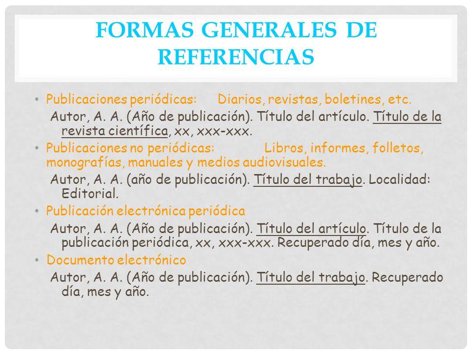 FORMAS GENERALES DE REFERENCIAS