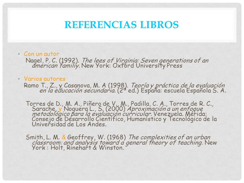 REFERENCIAS LIBROS Con un autor