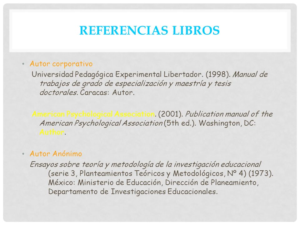 REFERENCIAS LIBROS Autor corporativo
