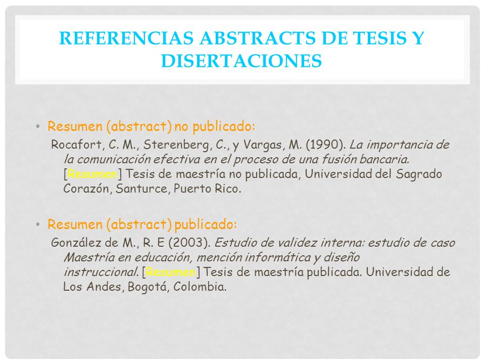 REFERENCIAS ABSTRACTS DE TESIS Y DISERTACIONES
