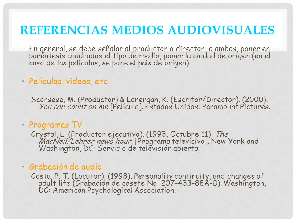 REFERENCIAS MEDIOS AUDIOVISUALES