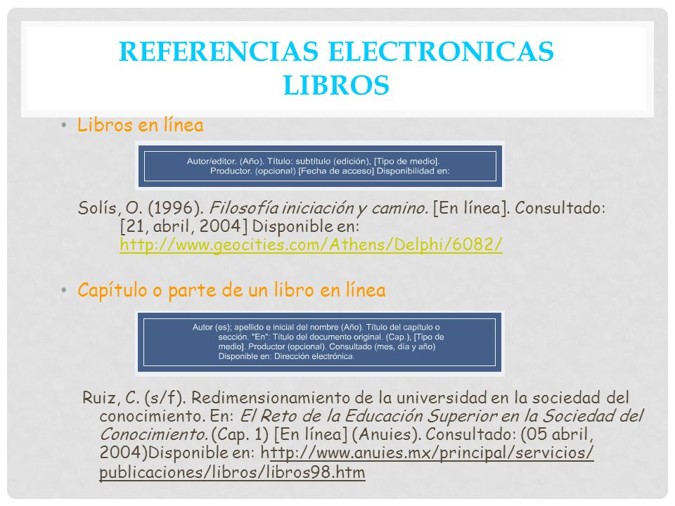 REFERENCIAS ELECTRONICAS LIBROS