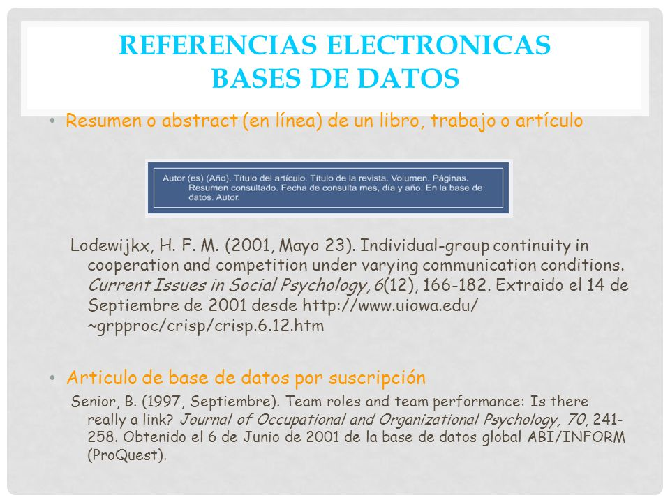 REFERENCIAS ELECTRONICAS BASES DE DATOS