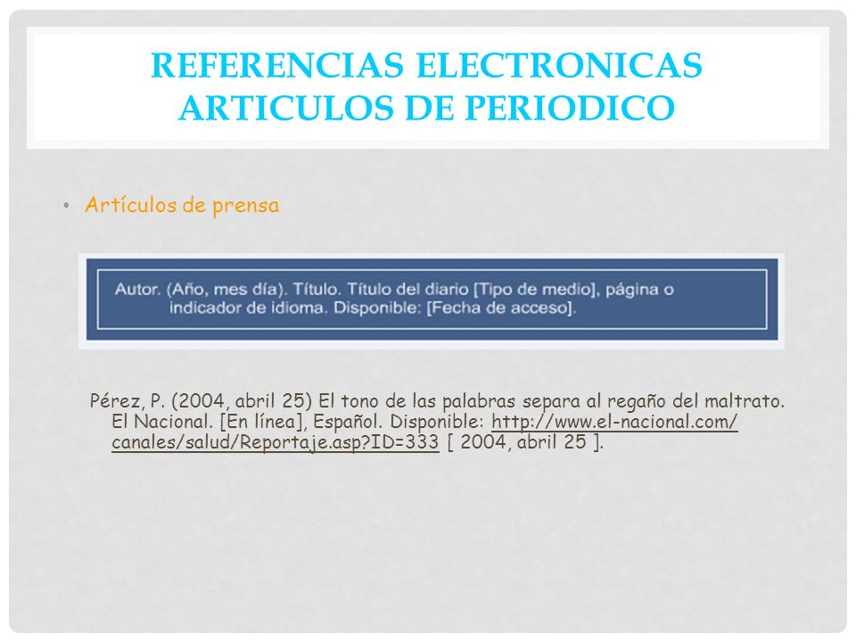 REFERENCIAS ELECTRONICAS ARTICULOS DE PERIODICO