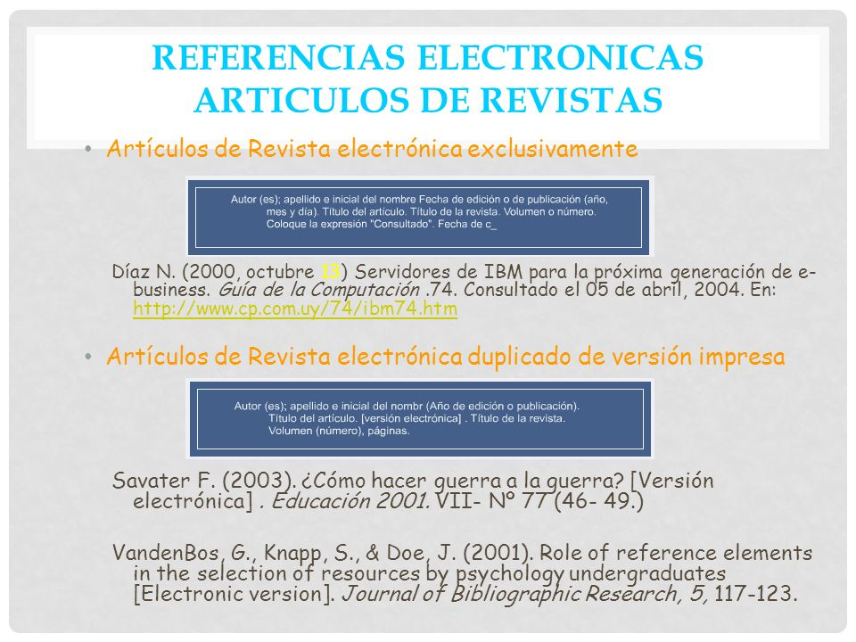 REFERENCIAS ELECTRONICAS ARTICULOS DE REVISTAS