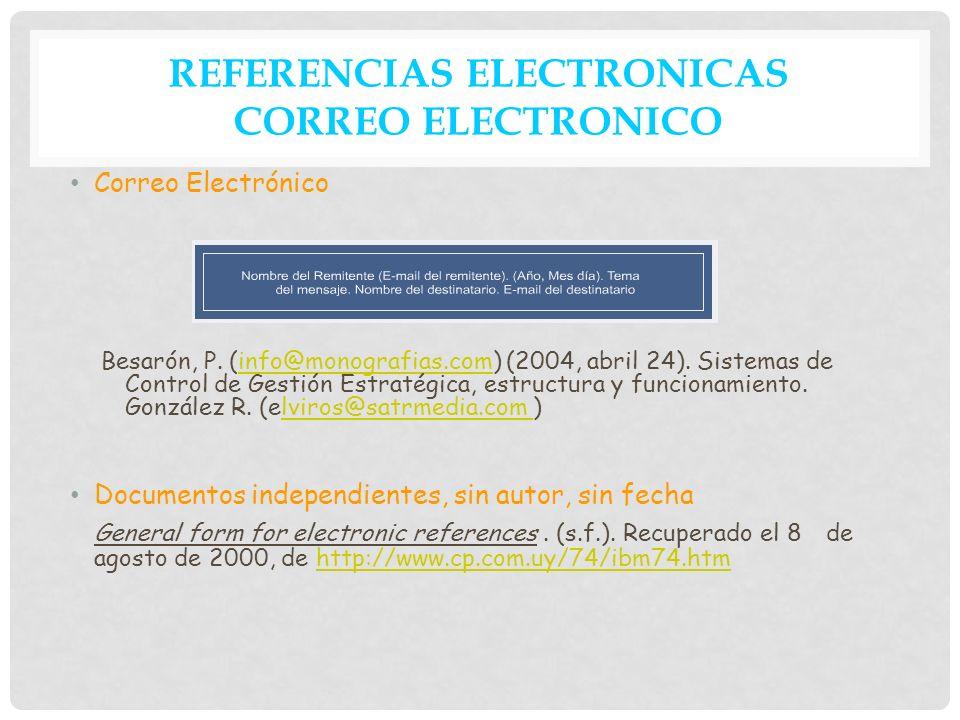 REFERENCIAS ELECTRONICAS CORREO ELECTRONICO