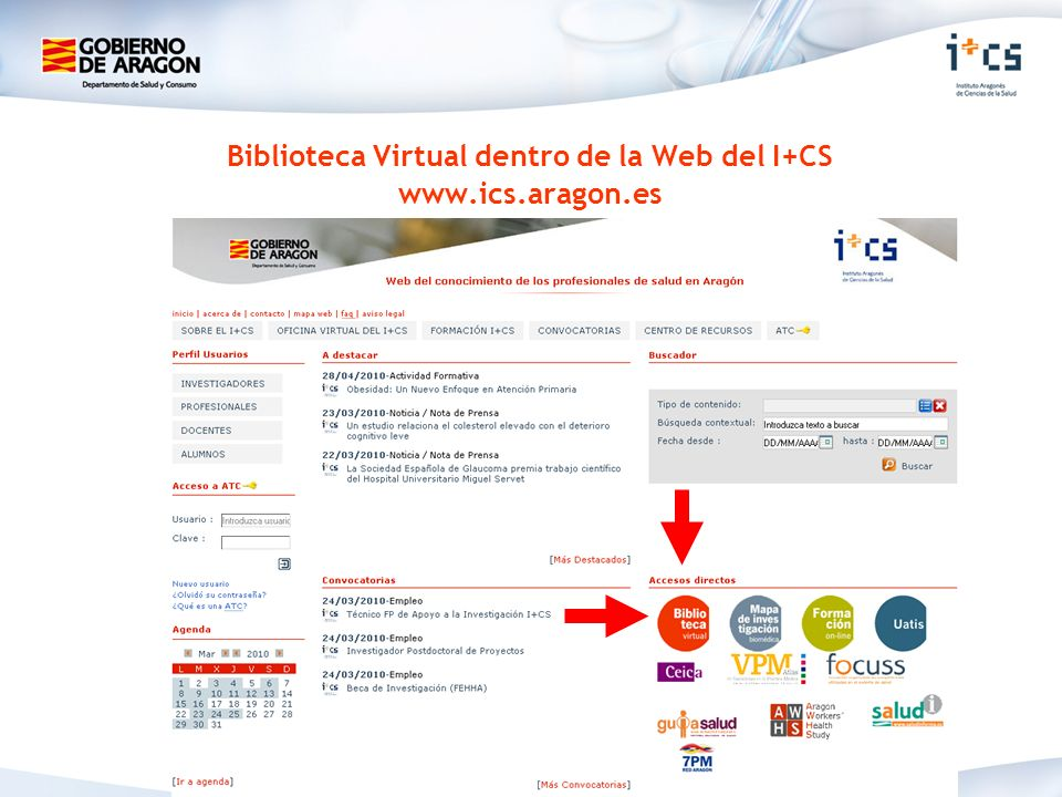 Biblioteca Virtual dentro de la Web del I+CS www.ics.aragon.es