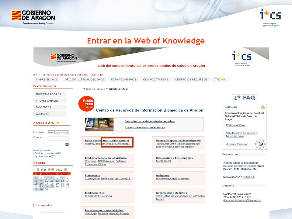 Entrar en la Web of Knowledge
