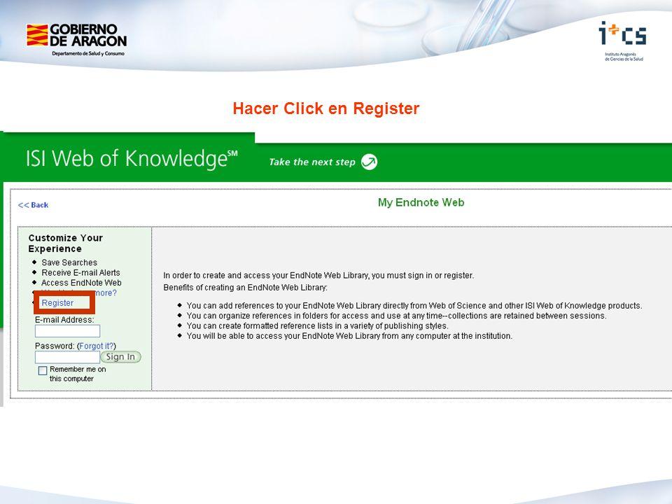 Hacer Click en Register