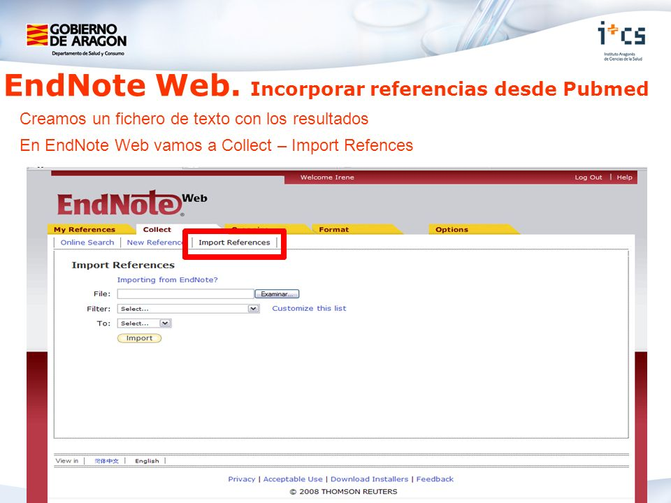 EndNote Web. Incorporar referencias desde Pubmed