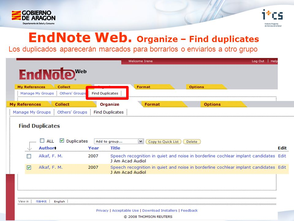 EndNote Web. Organize – Find duplicates