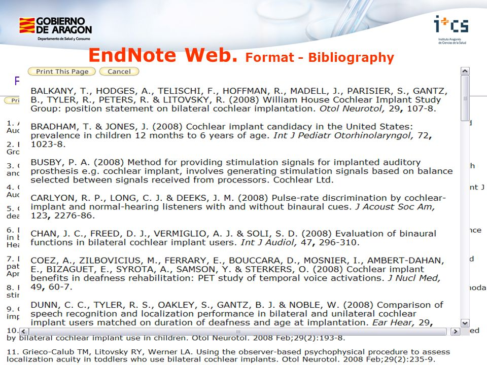 EndNote Web. Format - Bibliography