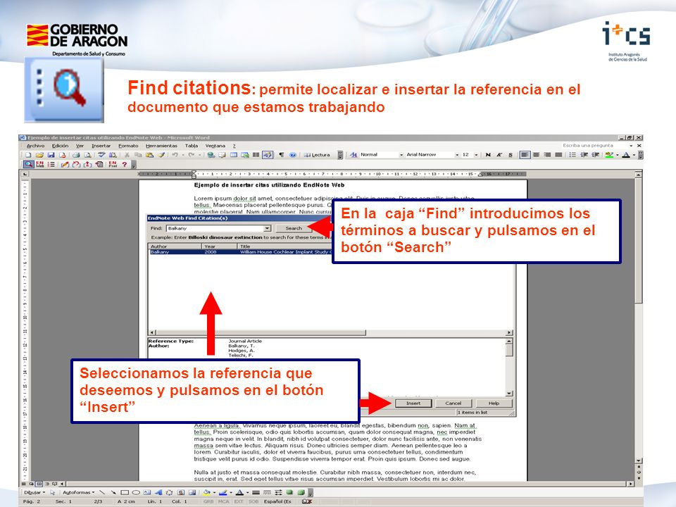 Find citations: permite localizar e insertar la referencia en el documento que estamos trabajando