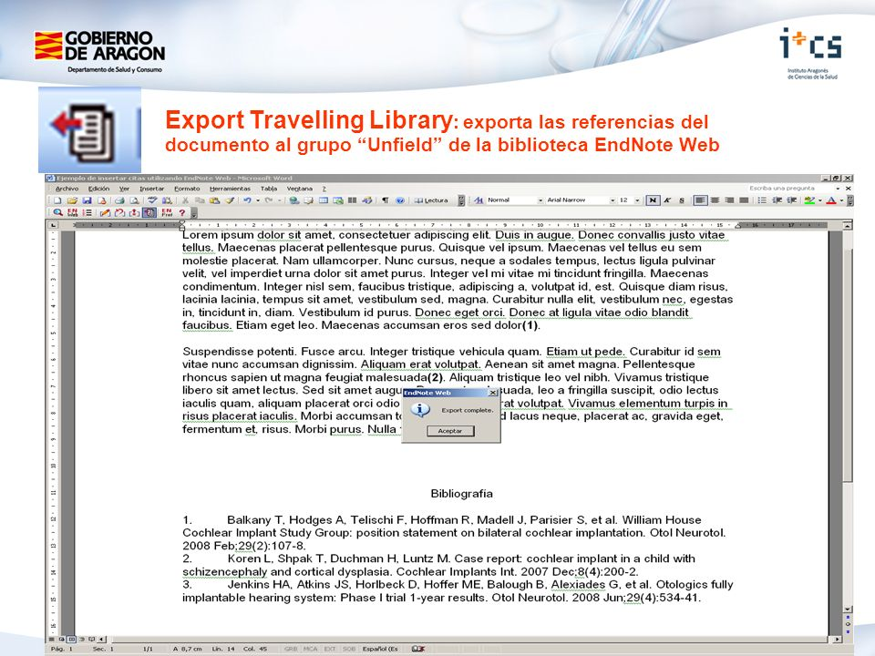 Export Travelling Library: exporta las referencias del documento al grupo Unfield de la biblioteca EndNote Web