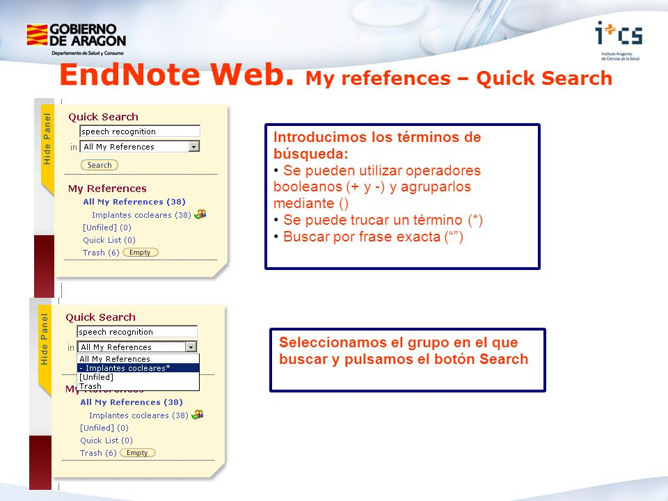 EndNote Web. My refefences – Quick Search