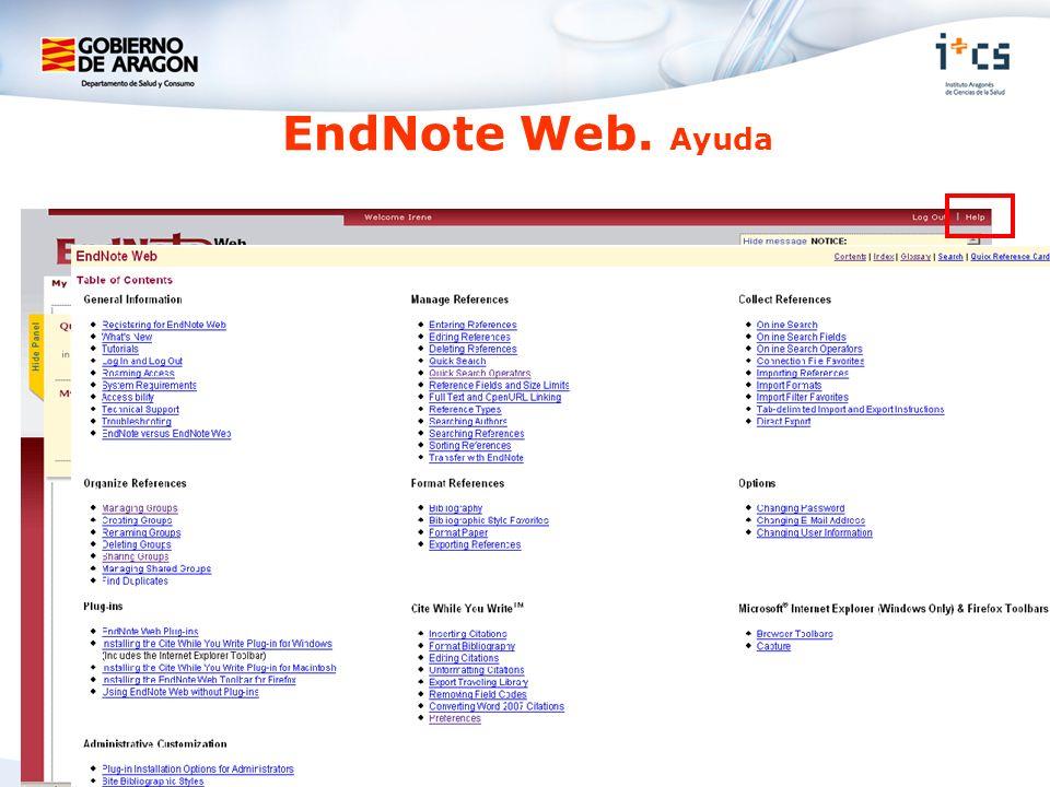 EndNote Web. Ayuda
