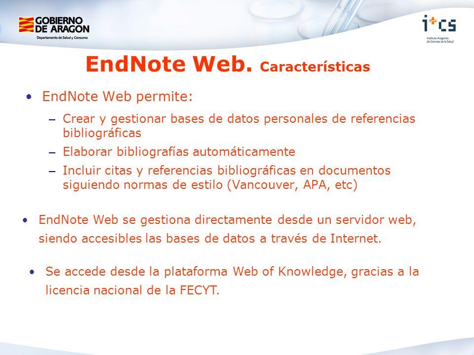 EndNote Web. Características