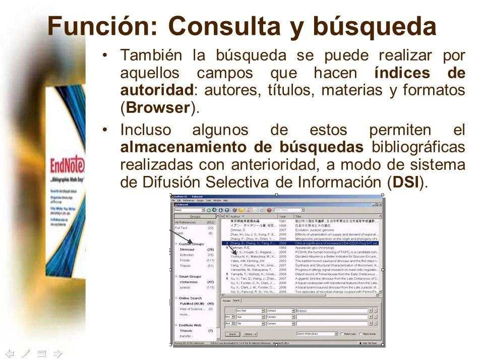 Función: Consulta y búsqueda