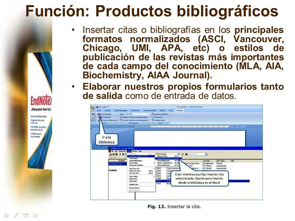 Función: Productos bibliográficos