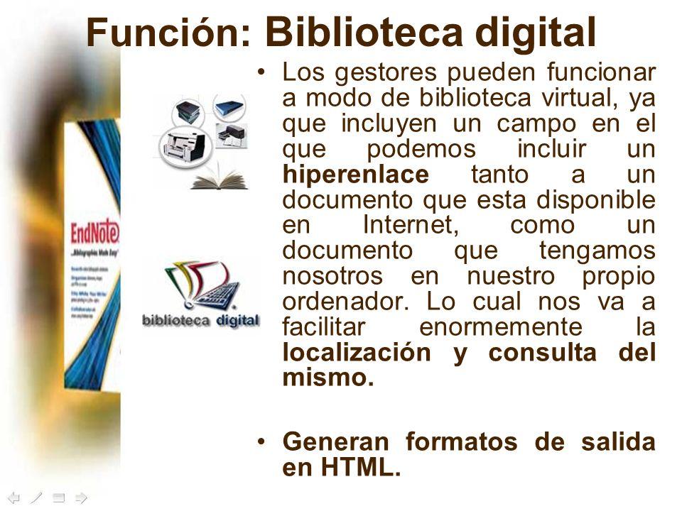 Función: Biblioteca digital