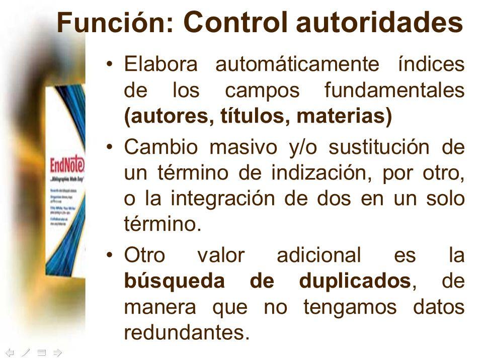 Función: Control autoridades