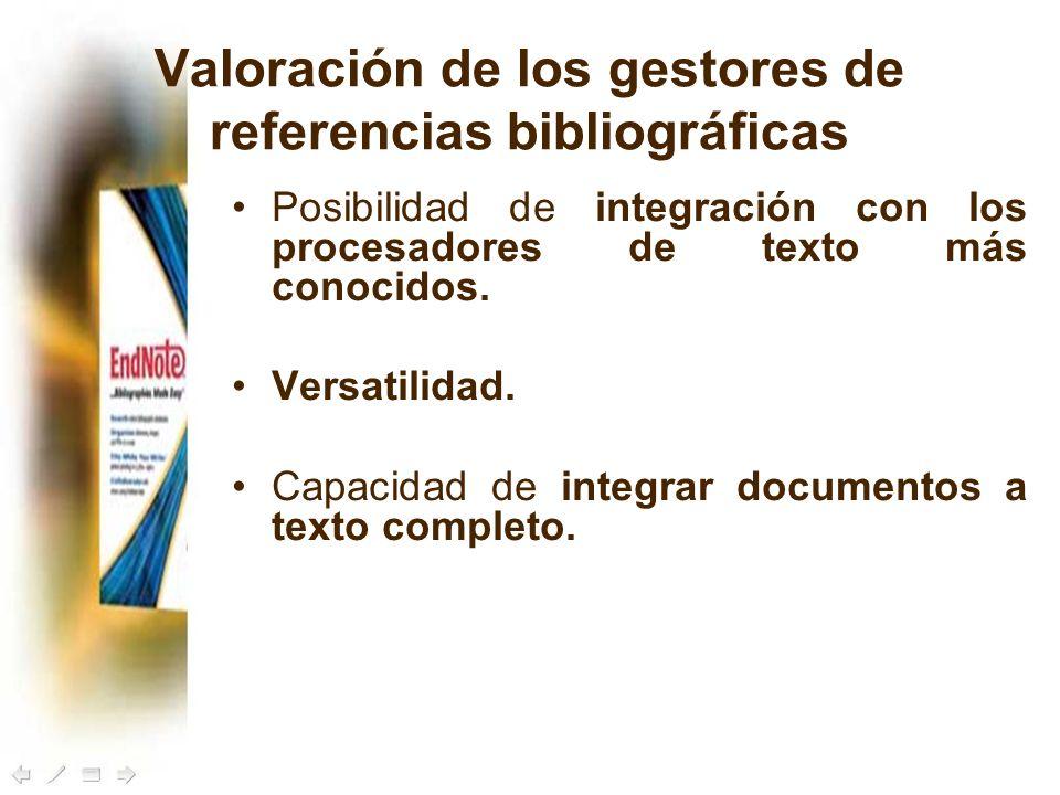 Valoración de los gestores de referencias bibliográficas