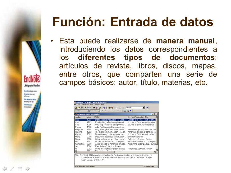 Función: Entrada de datos