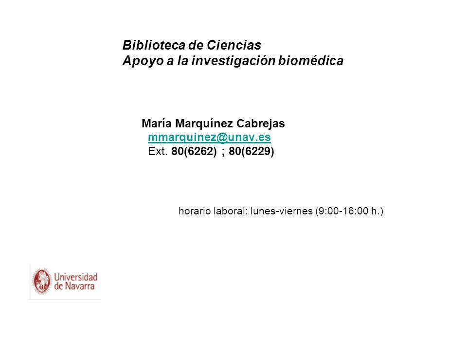 Biblioteca de Ciencias Apoyo a la investigación biomédica