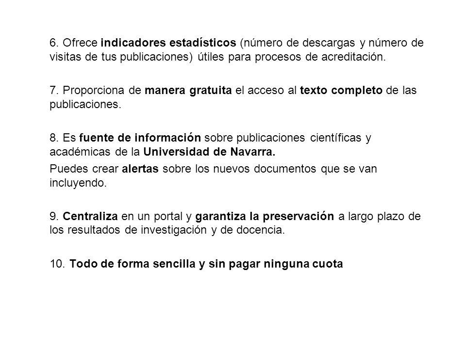 6. Ofrece indicadores estadísticos (número de descargas y número de visitas de tus publicaciones) útiles para procesos de acreditación.
