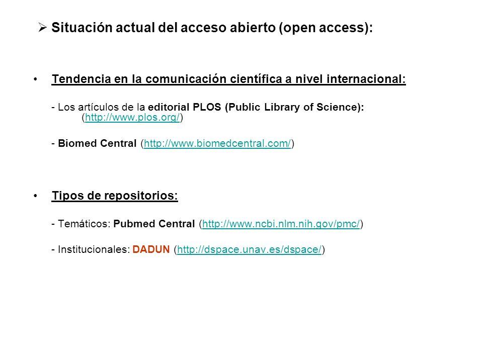 Situación actual del acceso abierto (open access):