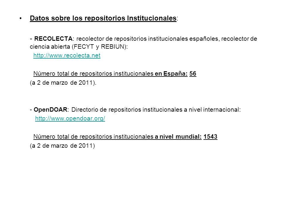 Datos sobre los repositorios Institucionales: