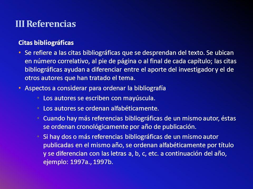 III Referencias Citas bibliográficas
