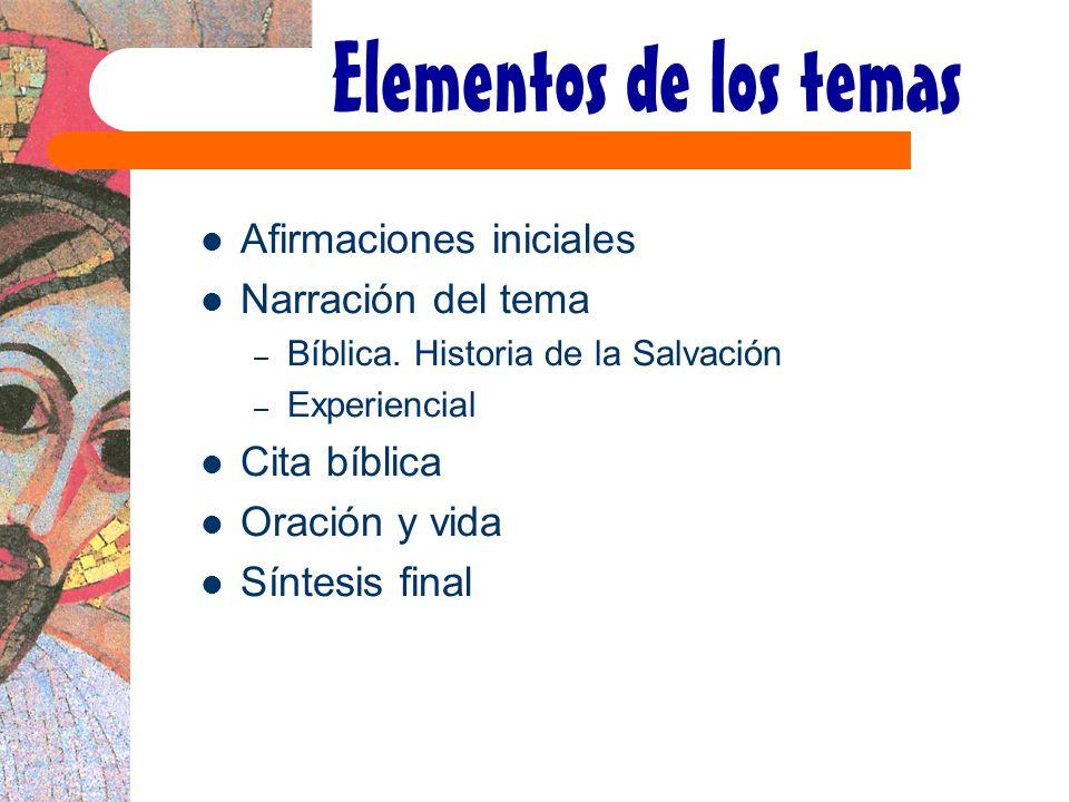Elementos de los temas Afirmaciones iniciales Narración del tema
