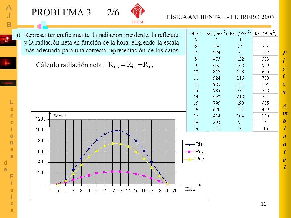 PROBLEMA 3 2/6 Cálculo radiación neta: Ambiental Física