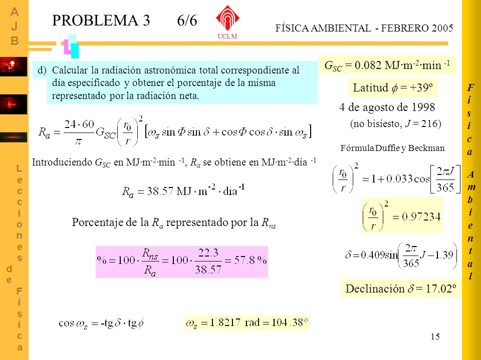 PROBLEMA 3 6/6 GSC = 0.082 MJ·m-2·min -1 Latitud  = +39º