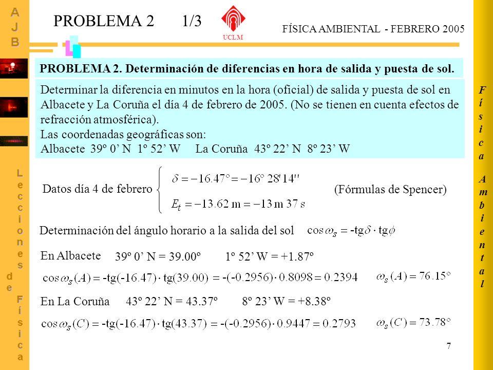 UCLM Ambiental. Física. PROBLEMA 2. 1/3. FÍSICA AMBIENTAL - FEBRERO 2005.