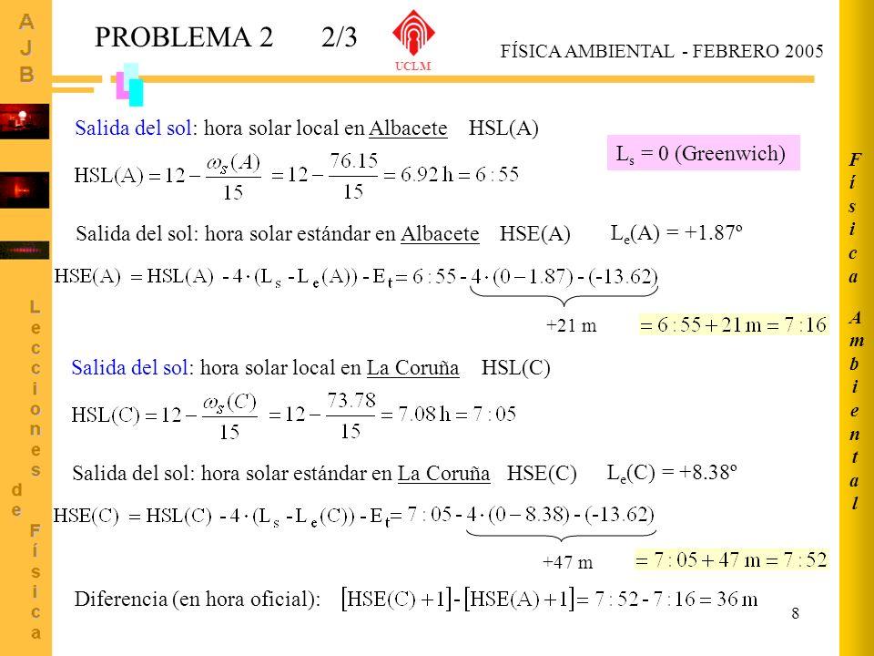 PROBLEMA 2 2/3 Salida del sol: hora solar local en Albacete HSL(A)