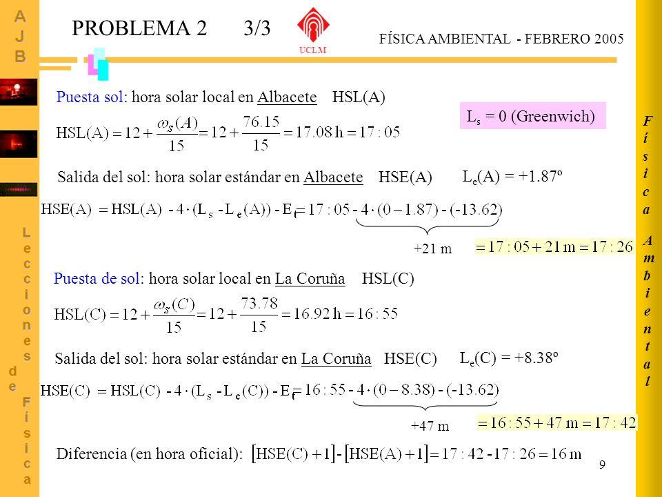 PROBLEMA 2 3/3 Puesta sol: hora solar local en Albacete HSL(A)