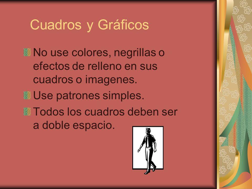 Cuadros y Gráficos No use colores, negrillas o efectos de relleno en sus cuadros o imagenes. Use patrones simples.