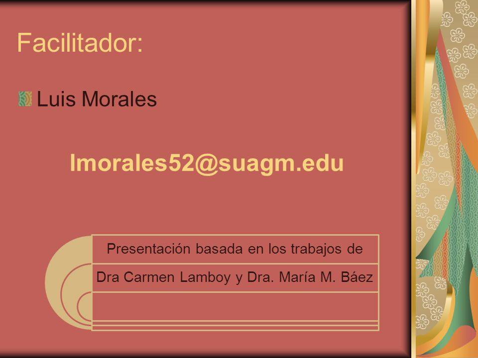 Facilitador: lmorales52@suagm.edu Luis Morales