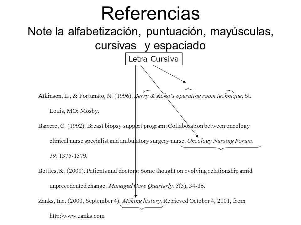 Referencias Note la alfabetización, puntuación, mayúsculas, cursivas y espaciado