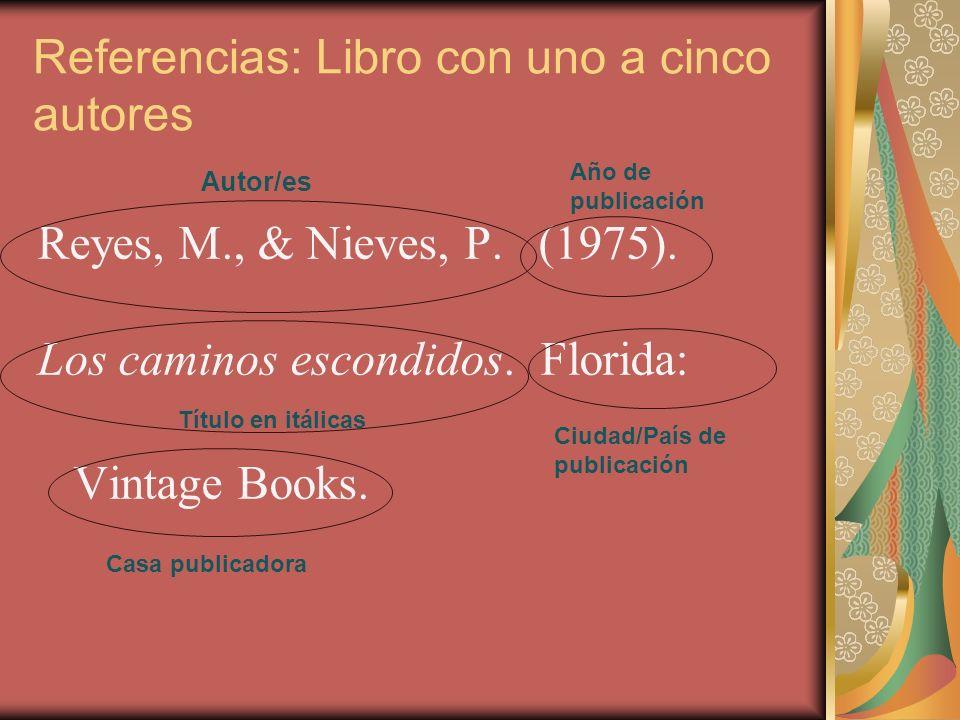 Referencias: Libro con uno a cinco autores