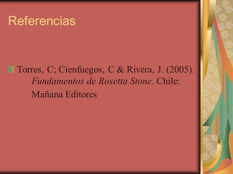 Referencias Torres, C; Cienfuegos, C & Rivera, J. (2005).