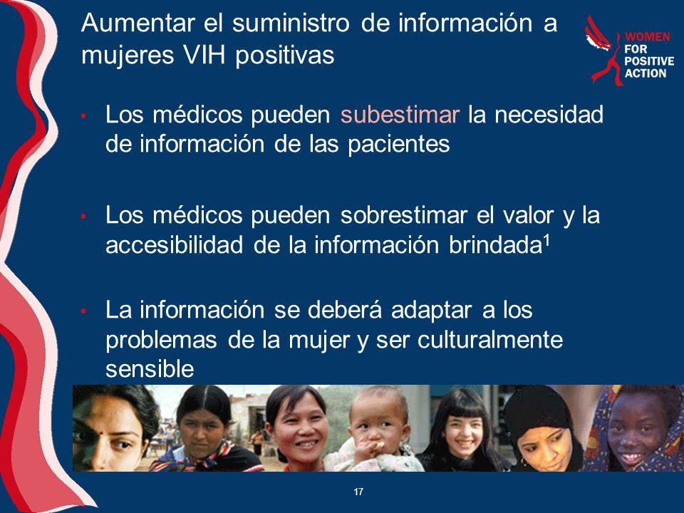 Aumentar el suministro de información a mujeres VIH positivas