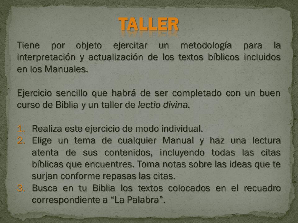 TALLER Tiene por objeto ejercitar un metodología para la interpretación y actualización de los textos bíblicos incluidos en los Manuales.