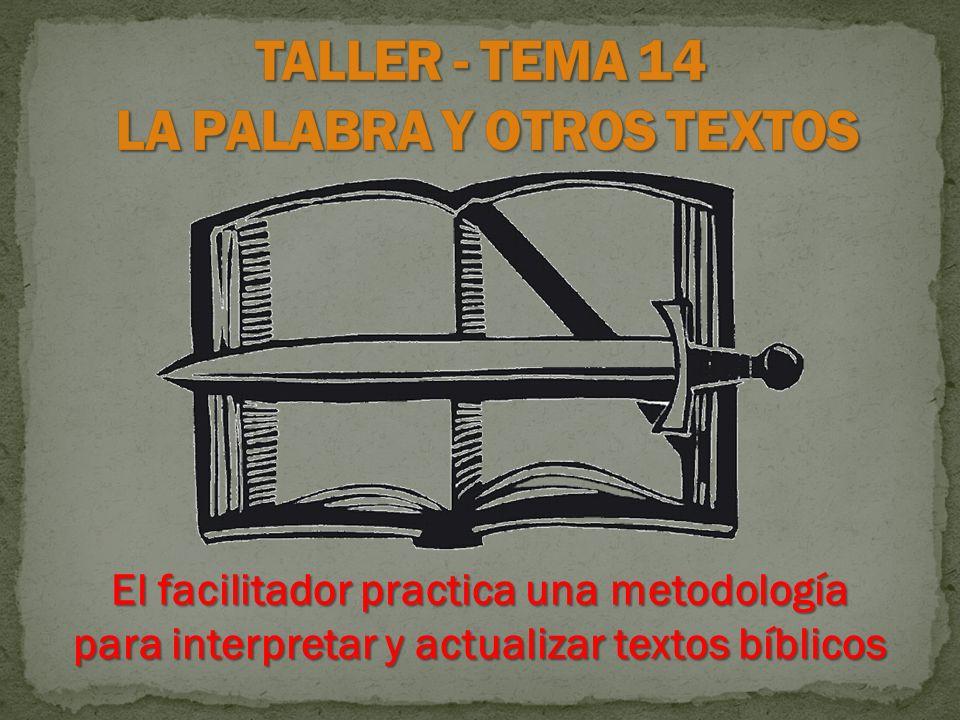 TALLER - TEMA 14 LA PALABRA Y OTROS TEXTOS