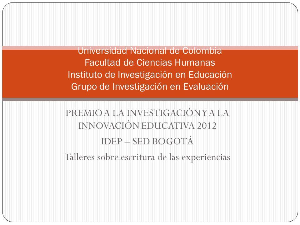 PREMIO A LA INVESTIGACIÓN Y A LA INNOVACIÓN EDUCATIVA 2012