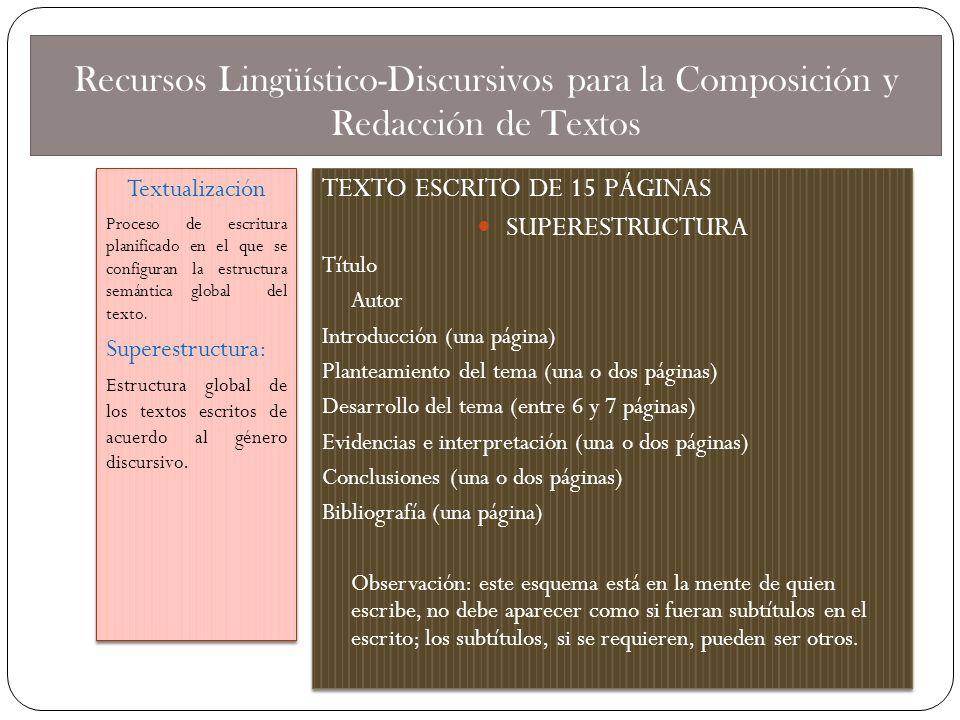 Recursos Lingüístico-Discursivos para la Composición y Redacción de Textos